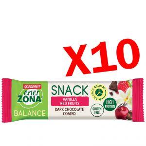 SNACK BALANCE 40-30-30 ENERZONA VANILLA RED FRUIT 10 Barrette da 33 g - Snack Proteine alla Vaniglia e Frutti Rossi