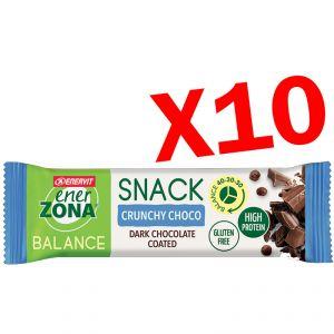 SNACK BALANCE 40-30-30 ENERZONA CRUNCHY CHOCO 10 Barrette da 33 g - Snack ad apporto bilanciato gusto Cioccolato