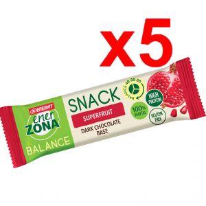 Enerzona Balance 40-30-30 Snack 5 barrette da 25 g cada una -  gusto Superfruit con base di Cioccolato
