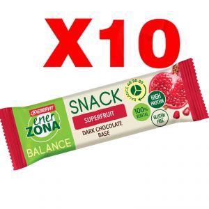 Enerzona Balance 40-30-30 Snack 10 barrette da 25 g cada una -  gusto Superfruit con base di Cioccolato
