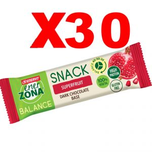 Enerzona Balance 40-30-30 Snack Box da 30 barrette da 25 g cada una -  gusto Superfruit con base di Cioccolato