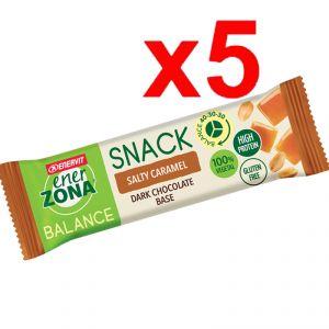 Enerzona Balance 40-30-30 Snack 5 barrette da 25g cada una gusto Salty Caramel con base di Cioccolato