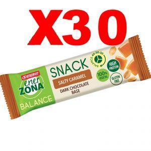 Enerzona Balance 40-30-30 Snack Box da 30 barrette da 25g cada una - gusto Salty Caramel con base di Cioccolato