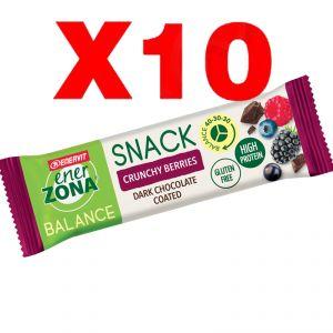 Enerzona Balance 40-30-30 Snack 10 barrette da 33g cada una - gusto Crunchy Berries ricoperta di Cioccolato