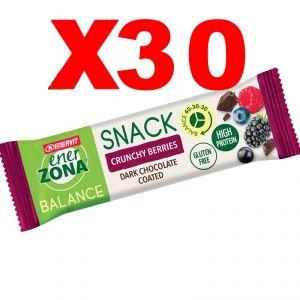 Enerzona Balance 40-30-30 Snack Box da 30 barrette da 33g cada una - gusto Crunchy Berries ricoperta di Cioccolato
