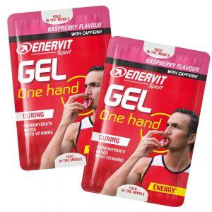 ONE HAND GEL ENERVIT SPORT Raspberry con Caffeina Confezione 10 Buste 12,5ml - Gel energetico con Carboidrati e Vitamine