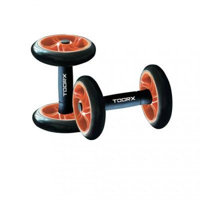 Coppia manubri con ruote per addominali, colore nero-arancio