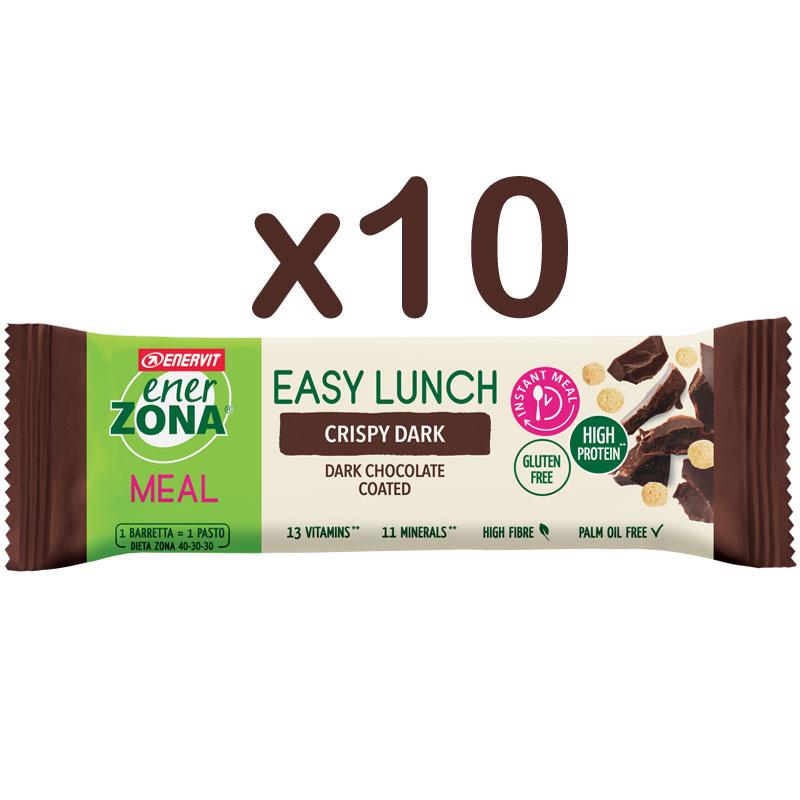 Enerzona 10 Barrette Easy Lunch Crispy Dark da 58g - 10 Barrette con vitamine e minerali - Gusto Crispy Dark
