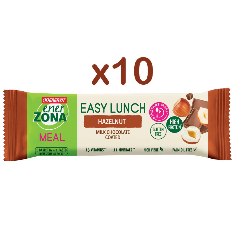 Enerzona 10 barrette Easy Lunch Hazelnut 58g - 10 Barrette con vitamine e minerali - Gusto Nocciola