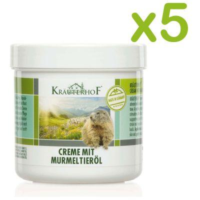 CREME MIT MURMELTIERÖL 5 Barattoli da 250 ml - CREMA CON OLIO DI MARMOTTA - Migliora l' elasticità della pelle