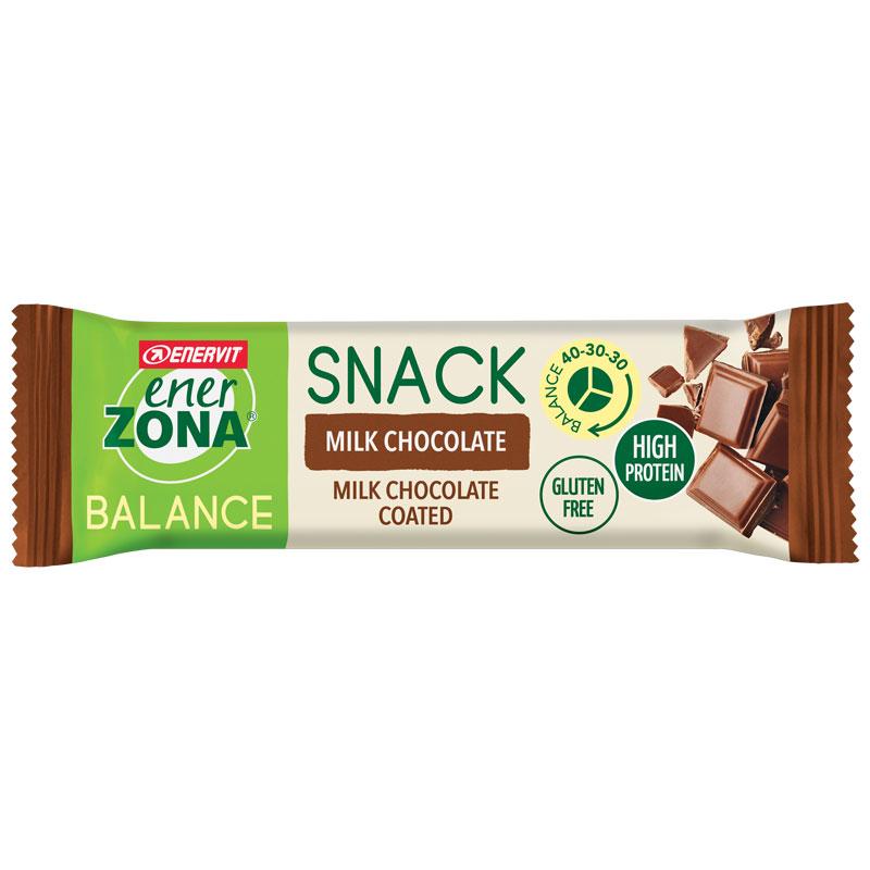 SNACK MILK CHOCOLATE BALANCE 40-30-30 ENERZONA - Barretta da 33 grammi ricoperta al cioccolato al latte