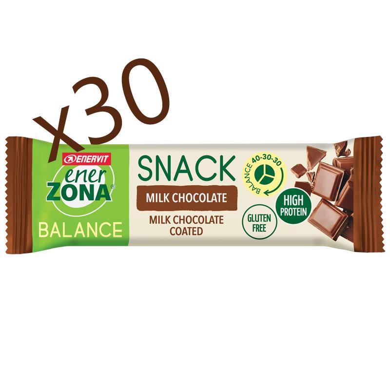 SNACK MILK CHOCOLATE BALANCE 40-30-30 ENERZONA - Box 30 Barrette da 33 g ricoperta al cioccolato al latte