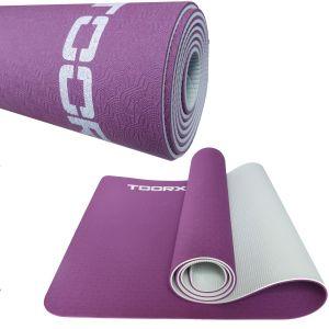 Materassino Per Yoga Bicolore Professionale Decorato in TPE - Dimensioni 183x60x0,6 cm - Colore perla e rosso borgogna