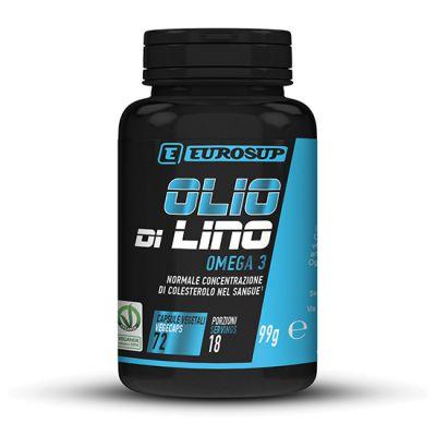 Eurosup OLIO DI LINO OMEGA 3 - 72 capsule softgel - Prodotto vegan - Olio di lino, fonte di omega 3 vegetali