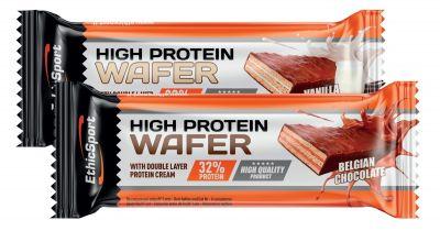 Ethicsport High Protein Wafer 35 g Belgian Chocolate - Box 12 Barrette ad Alto Contenuto Proteico 32% Proteine del Latte