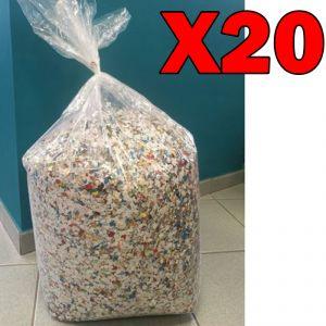 Coriandoli Colorati Multicolor di Produzione 100% Italiana - Formato Maxi Risparmio con 20 Sacchi da 10 kg