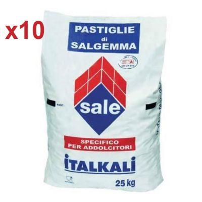 PASTIGLIE DI SALGEMMA ITALKALI, 10 SACCHI DA 25 KG - Sale 100% naturale specifico per addolcitori e generatori di cloro