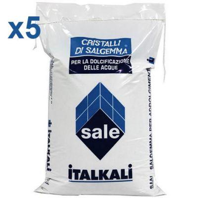 CRISTALLI DI SALGEMMA ITALKALI AD ALTO TENORE DI CLORURO DI SODIO, 5 sacchi da 10 kg - Ideale per addolcitori e piscine