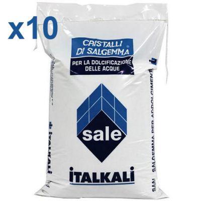 CRISTALLI DI SALGEMMA ITALKALI AD ALTO TENORE DI CLORURO DI SODIO, 10 sacchi da 10 kg - Ideale per addolcitori e piscine