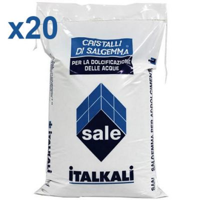Italkali 20 Sacchi di Cristalli di Salgemma per la Dolcificazione delle Acque 20x10 Kg - Sale Specifico per Addolcitori