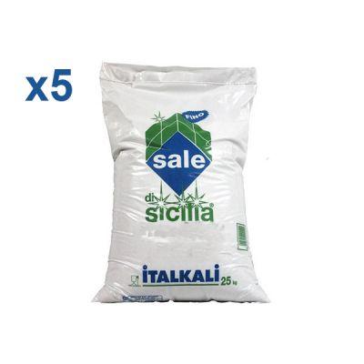 ITALKALI SALE DI SICILIA ALIMENTARE FINO, KIT 5 SACCHI DA 25 KG - Ideale per industria alimentare e clorinatori piscina