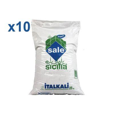 ITALKALI SALE DI SICILIA ALIMENTARE FINO, KIT 10 SACCHI DA 25 KG - Ideale per industria alimentare e clorinatori piscina