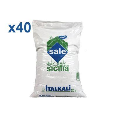 Italkali Pedana 40 Sacchi di Sale di Sicilia Alimentare Fino 40x25 Kg - Salgemma Naturale in cristalli purissimi