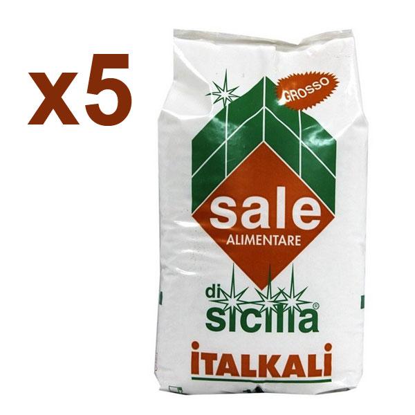 ITALKALI SALE DI SICILIA ALIMENTARE GROSSO KIT 5 SACCHI DA 25 KG - Ideale per industria alimentare e clorinatori piscina