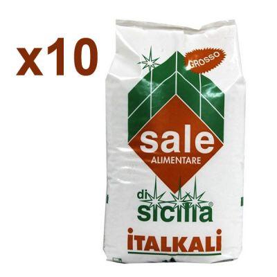 Italkali 10 Sacchi di Sale di Sicilia Alimentare Grosso 10x25 kg - Salgemma Naturale in cristalli purissimi