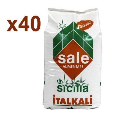 Italkali Pedana 40 Sacchi di Sale di Sicilia Alimentare Grosso 40x25 kg - Salgemma Naturale in cristalli purissimi