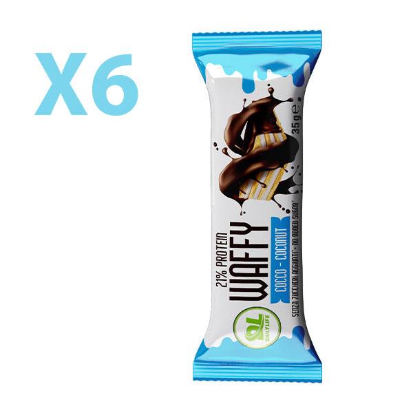 DL Box 6 WAFFY Cocco 6x35 gr - Wafer Proteico - Protein Waffy - 21% Proteine - Senza Olio di Palma