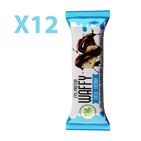 DL Box 12 WAFFY Cocco 12x35 gr - Wafer Proteico - Protein Waffy - 21% Proteine - Senza Olio di Palma