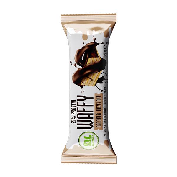DL WAFFY Nocciola 35 gr - Wafer Proteico - Protein Waffy - 21% Proteine - Senza Olio di Palma - Senza Zuccheri aggiunti