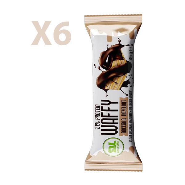 DL Box 6 WAFFY Nocciola 6x35 gr - Wafer Proteico - Protein Waffy - 21% Proteine - Senza Olio di Palma