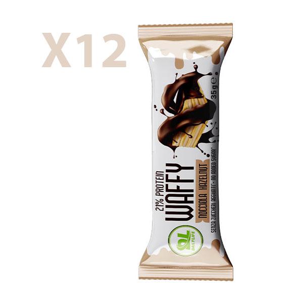 DL Box 12 WAFFY Nocciola 12x35 gr - Wafer Proteico - Protein Waffy - 21% Proteine - Senza Olio di Palma