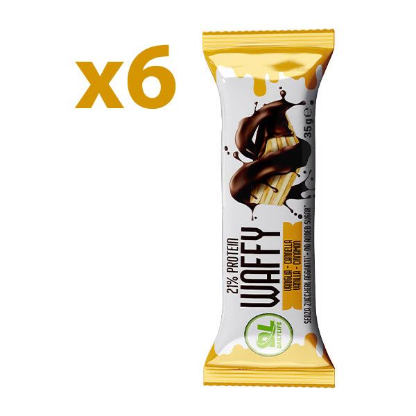 DL Box 6 WAFFY Vaniglia Cannella 6x35 gr - Wafer Proteico - Protein Waffy - 21% Proteine - Senza Olio di Palma