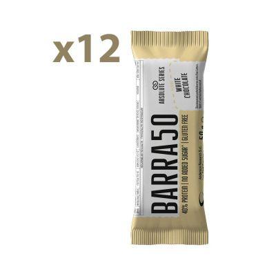 Absolute Series Daily Life Box 12 Barrette proteiche BARRA50 Cioccolato Bianco 12x50 gr - 40% di Proteine - Gluten Free