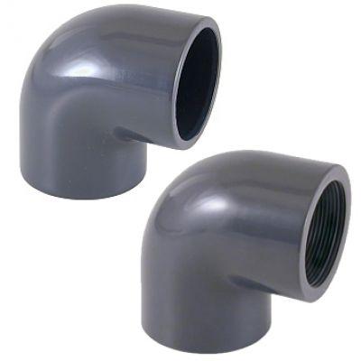 """GOMITO RIGIDO 90° F/F AD INCOLLAGGIO FILETTATO Ø 50 x 1"""" 1/2 - Raccordo PVC Misto con Curva Chiusa"""
