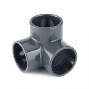 GOMITO 90° A 3 VIE IN PVC A INCOLLAGGIO Ø 50 x 50 x 50 MM - Raccordo Rigido a 3 vie liscio