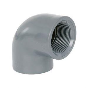 """GOMITO RIGIDO 90° F/F FILETTATO Ø 1"""" 1/2 - Raccordo PVC ad avvitare con curva chiusa"""