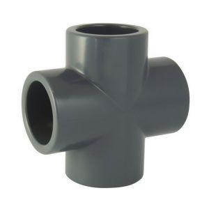 RACCORDO A CROCE IN PVC AD INCOLLAGGIO DIAMETRO 50 MM - Produzione Italiana Elevata Qualità