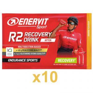 Enervit Sport R2 Recovery Drink After 10 Buste 10x50g Arancia - Maltodextrin Based - +4,8 BCAA - +1g L-Glutamine