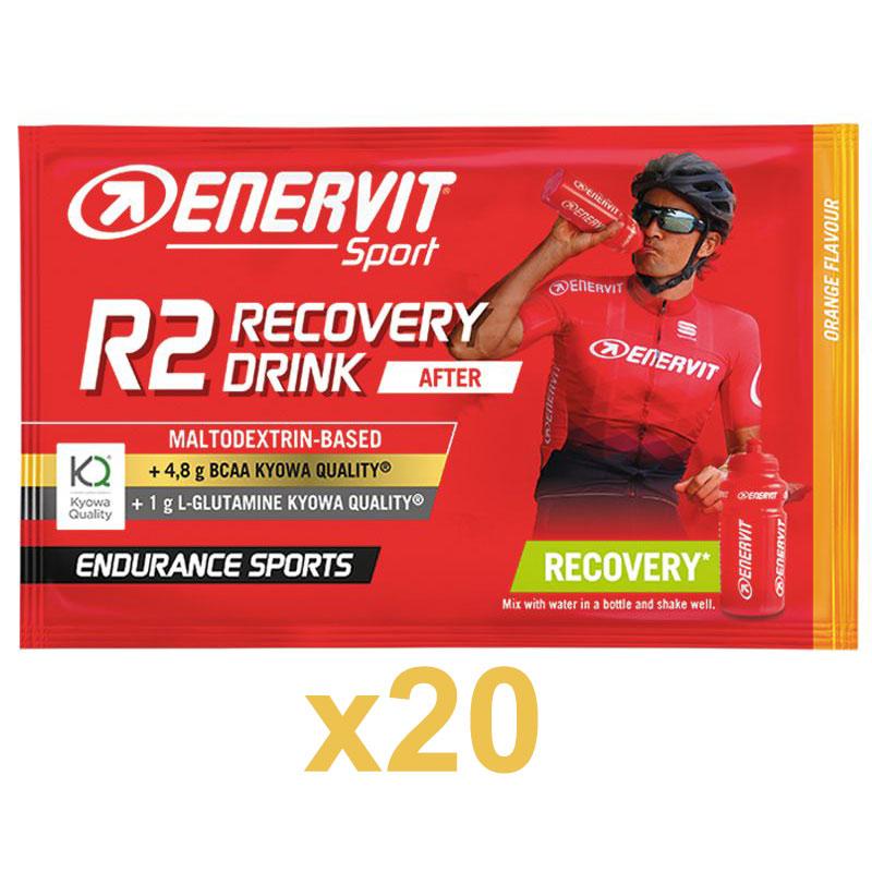 Enervit Sport R2 Recovery Drink After 20 Buste 20x50g Arancia - Maltodextrin Based - +4,8 BCAA - +1g L-Glutamine
