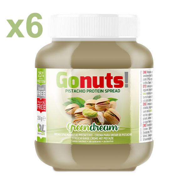 Anderson Daily life Box 6 Gonuts! GreenDream al Pistacchio 6x350 g - Crema spalmabile al pistacchio - Crema proteica