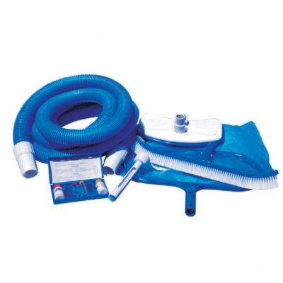 KIT MANUTENZIONE PISCINA MK06WBX - Include Tubo Galleggiante Aspirafango Retino Spazzola Termometro Test Analisi