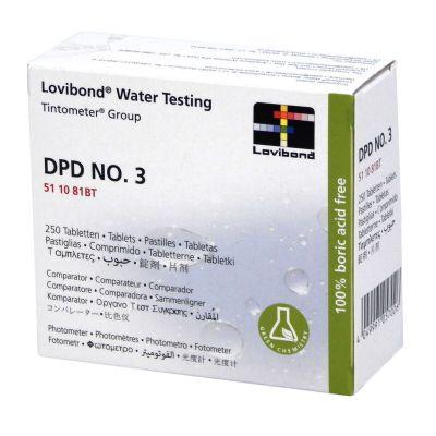 Lovibond DPD n°3, scatola con 250 compresse - Pastiglie reagenti per l'analisi del cloro totale in piscina