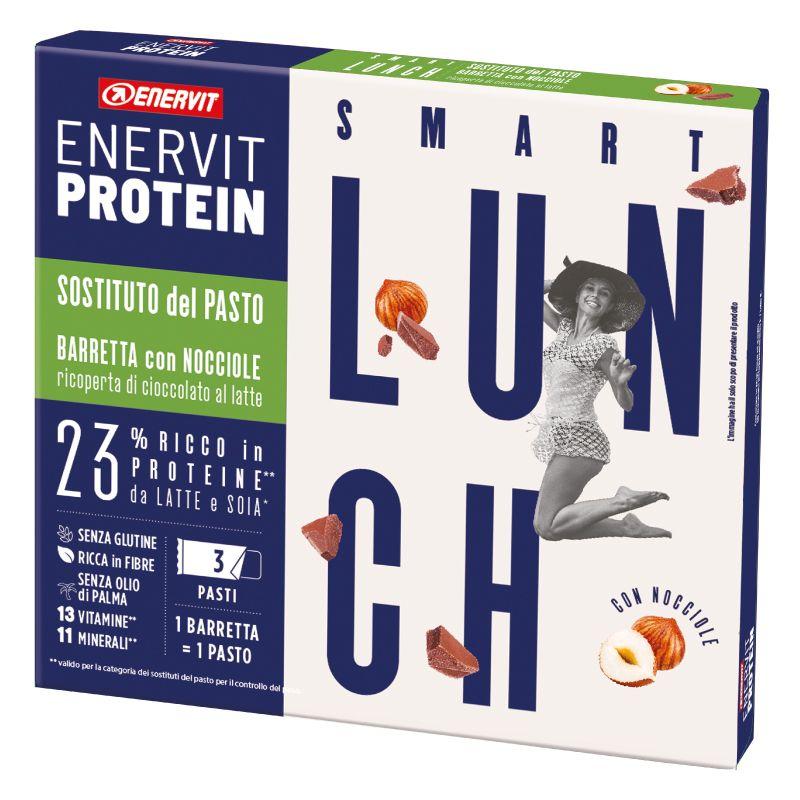 Enervit Protein Astuccio 3 Smart Lunch con Nocciole Ricoperto di Cioccolato al Latte - 3 Barrette Sostitutive del pasto