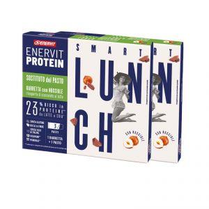 Enervit Protein Astuccio 6 Smart Lunch con Nocciole Ricoperto di Cioccolato al Latte - 6 Barrette Sostitutive del pasto