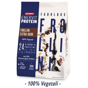 Enervit Protein Fabulous Frollini Extra Dark 200 g - 24% Ricchi di Proteine di Soia e Frumento - 100% vegetali