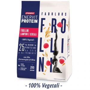 Enervit Protein Fabulous Frollini Lamponi e Cereali  200 g - 25% Ricchi di Proteine di Soia e Frumento - 100% vegetali